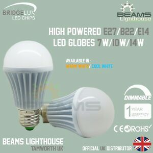 E27 B22 E14 DIMMABLE 7W 10W 14W Edison WARM/COOL WHITE Bridgelux LED Bulb Globe