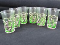 SHOT GLASSES Green Glass Silver Color Fish In Case Set of 6 Mid Century Modern