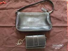 Coach Hamptons Black Leather Baguette Pochette Purse & Wallet Set GUC $300+ set