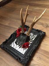 Unique gothic decorative frame genuine deer skull ethically sourced handmade