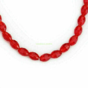 Rugby Crystal Faceted Oval Glass Beads Spacer Jewelry Making Finding 25pcs 8x6mm