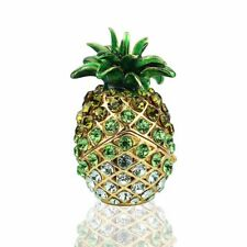 Metal Trinket Boxes Hand-Painted Crystal Pineapple Figurines Jewelry Lady Gift