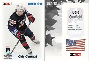 2021 SC Cole Caufield white team USA WJC 20 RC rookie Montreal Canadiens
