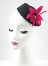 Hot Pink Black Orchid Flower Pillbox Hat Fascinator Races Rockabilly 1950s 394