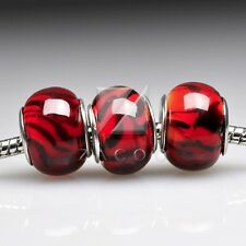 5pcs Murano Glass Round Lampwork Large Hole Charm Jewelry Loose Beads 14x14x10mm