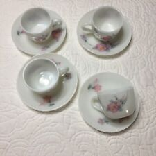 La Opala Milk Glass Pink Pastel Flowers Tea Coffee Set Of 4 Cups and Saucers