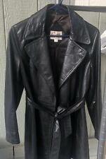 Remy Women Black Leather Jacket Size 10 Collared With Belt Two Pocket Large