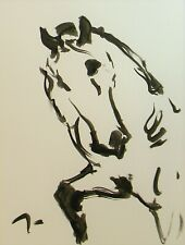 Jose Trujillo 18x24 Ink Wash Painting Abstract Horse Modern Contemporary Art