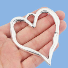 Tibetan Alloy Antique Silver Spiral Open Heart  Charms  10x11mm  *