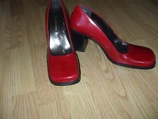 Enzo Angiolini red leather classic work pump casual comfort slip on shoes