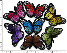28 Pcs Embroidered Iron on patches 7 Mixed Colorful Butterfly 7.5x2.5cm AP010aA
