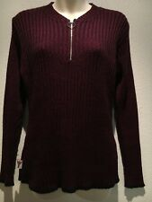 Mooks Burgundy Black Long Sleeve Crew Neck Jumper with Zip Size L Fit 10 12