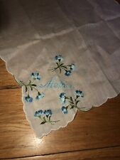 Mother Mom Blue Embroidered Vintage Handkerchief White Floral Flowers Green