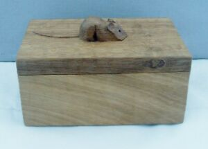 SUPERB ROBERT THOMPSON MOUSEMAN OAK TRINKET BOX WITH MOUSE ON THE LID