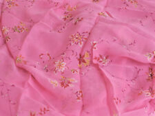2 4/5th linear yds pink floral print Silk Chiffon sheer printmaker international