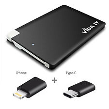Ultra Slim Pocket Size Power Bank Battery Charger with Type-C and iPhone adapter