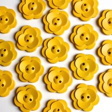 20 Wooden Yellow Daisy Flower Buttons embellishments, sewing, craft making