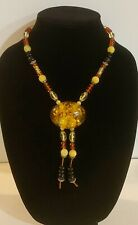 """22"""" chain Resin Sweater Necklace Made with Imitation Amber Crescent Pendant"""