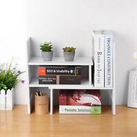 Expandable Desktop Bookshelf Bookcase Organizer Rack Office Storage Shelf Unit ~