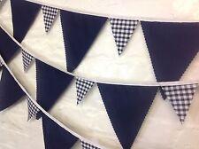 Navy Gingham Fabric Bunting senza interruzioni 10 MT 65 bandiere matrimoni, DOCCE BABY