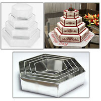 "4 TIER CHRISTMAS HEXAGON BIRTHDAY WEDDING ANNIVERSARY  CAKE TINS  6"" 8"" 10"" 12"""