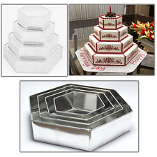 "4 TIER CHRISTMAS HEXAGON BIRTHDAY WEDDING ANNIVERSARY  CAKE TINS  6"" 8"" 10"" 12"""