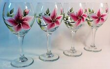 SET OF FOUR HAND PAINTED STAR GAZER LILIES FLOWERS ON LARGE 20 OZ. WINE GLASS