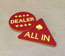Set of 2 All In & Dealer Button Red & Yellow Poker Stars for Poker