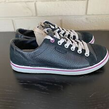 Crocs Black Leather Lace Up Cap Toe Casual Sneakers Shoes Women's 7 M
