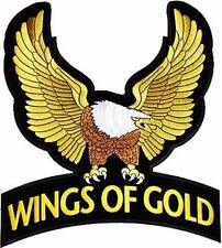 BACK PATCH WINGS OF GOLD Embroidered For A Biker Motorcycle MC New Vest LRG-0169