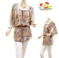 Women PLUS Victorian Faux Silk Chiffon Lace Batwing Peasant Blouse Shirt Top NWT