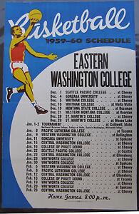 1959-60 Eastern Washington College Basketball Schedule Poster