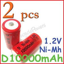 2 pcs pcs Size D 10000mah rechargeable battery Ni-MH NiMH 1.2V RED