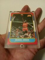 Michael Jordan 1986 Fleer Rookie Card Unmarked Reprint W/ Case 👀 NBA Basketball