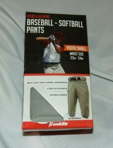 NEW Youth Boys Girls FRANKLIN Deluxe GREY Baseball Softball PANTS Size S W22-24