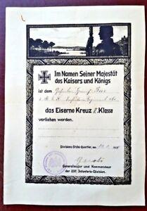GERMAN IRON CROSS CERTIFICATE WW1 SIGNED Kommandeur 237 Infanteria Division