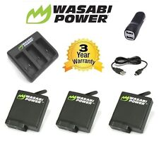 Wasabi Power Hero 5 Battery x 3 (1220mAh) V3 TRIPLE SLOT CHARGER for GoPro + USB
