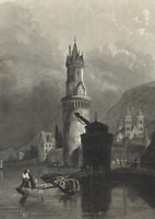 Round Tower Andernach Germany Rhine River - c.1850 Engraved Old City View