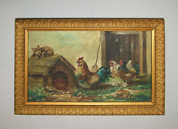 Old Antique Vtg 1910 Chickens Rooster and Puppy Oil Canvas Painting H. Petersen