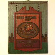 VTG Red Coach Inn 1770 Pub Sign Hand-Painted Wood Primitive Bar Rustic Kitchen