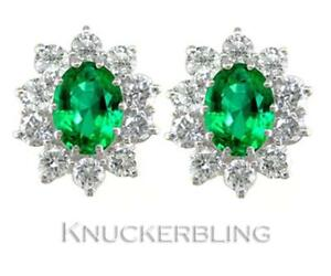 Emerald and Diamond Cluster Earrings 3.00ct in 18ct Gold, with F Colour Diamonds