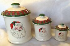 Santa Ceramic Storage Jars Air Tight Canister Set Christmas Decor Holiday Season