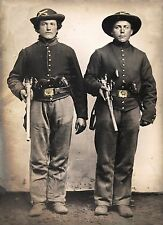 "Civil war soldiers page, Young Men, Sharps rifles & Colt revolvers, 20x14"" photo"