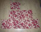 3 tissu textile coupon ameublement lin imprimé camaieu rose fleur arbre vintage