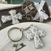 40 Silver Cross Keychain Christening Baptism Baby Shower Religious Party Favors