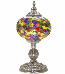 Large Mosaic Table Lamp Turkish Moroccan Bedside Colorful Night Lamp Lampshade