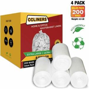 ccliners 8 Gallon Clear Garbage Trash Bags, 200 Count