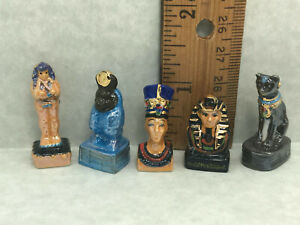 Egyptian Treasure Art Mummy Nefertiti Pharaoh French Feves Figurines Miniatures