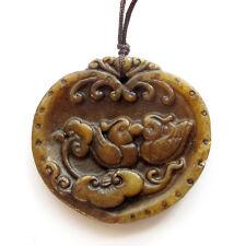 Old Jade Gemstone Happy Lucky Love Birds Mandarin Ducks Heart Pendant Jewelry