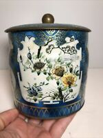 Vintage Daher Round Metal Tea Tin Made In England Floral Design Very Pretty